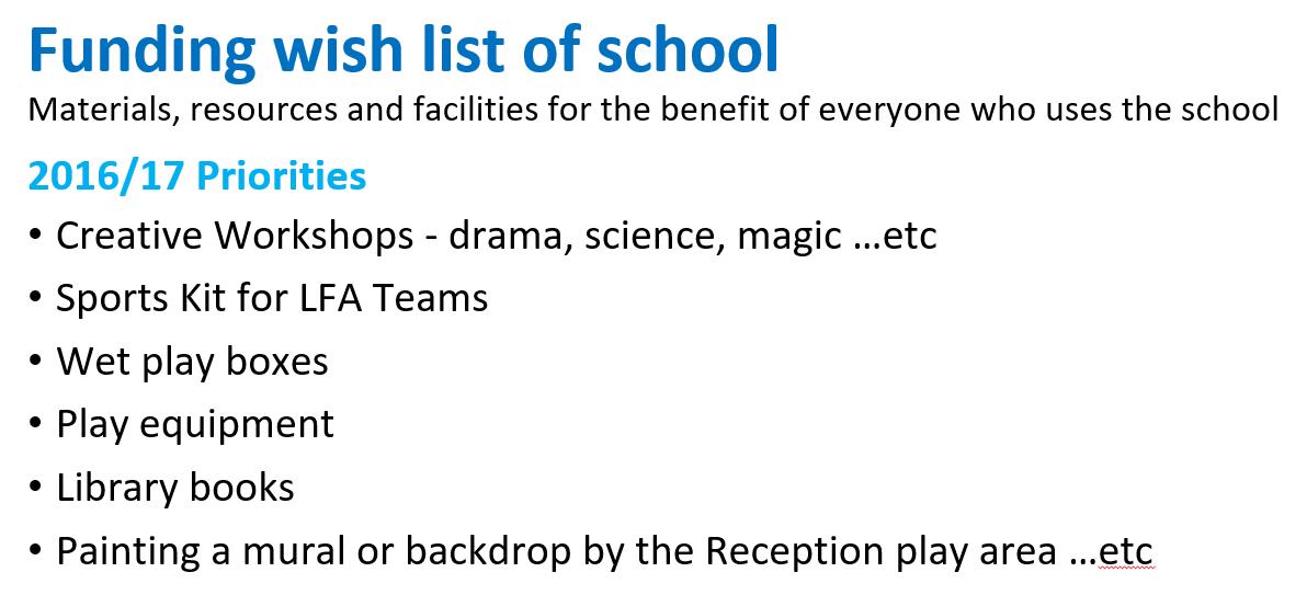 LFA wishlist 2016-17